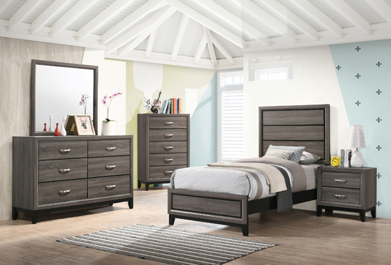 5-piece Twin Panel Bedroom Set Grey Oak