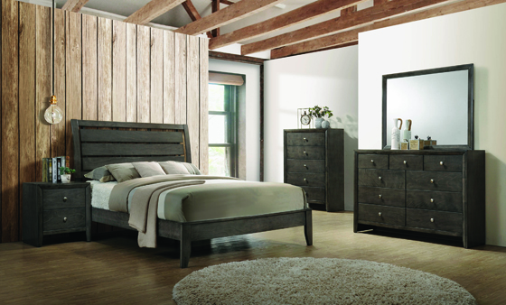 Serenity Eastern King Panel Bed Mod Grey - Hover