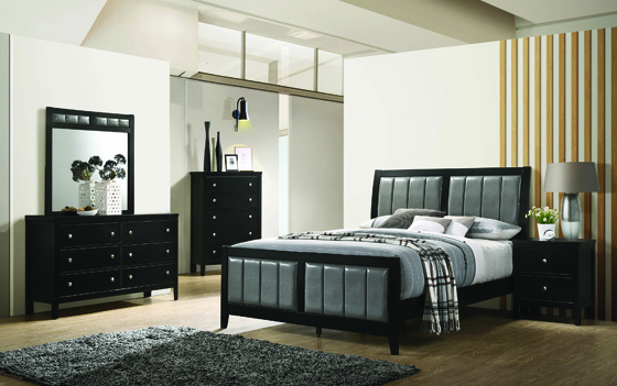 Carlton Queen Upholstered Bed Black and Grey - Hover