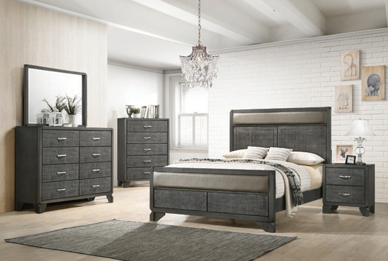 Noma Queen Panel Bed Caviar and Grey - Hover