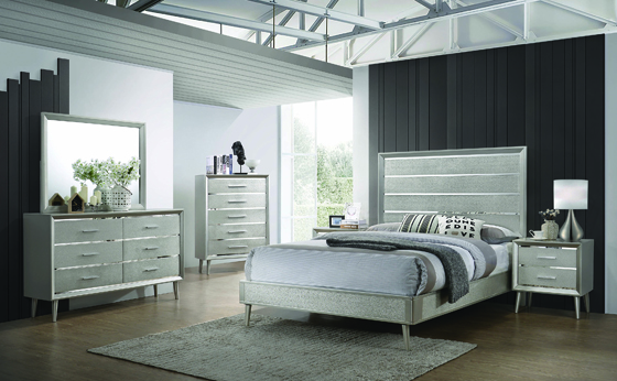 Ramon Twin Panel Bed Metallic Sterling - Hover