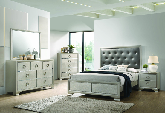 Salford Queen Panel Bed Metallic Sterling and Charcoal Grey - Hover