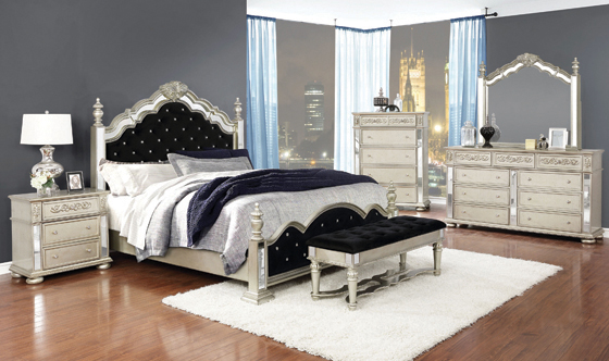 Heidi Queen Upholstered Poster Bed Metallic Platinum - Hover