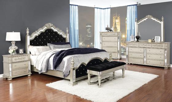 Heidi Queen Upholstered Poster Bed Metallic Platinum - Hover