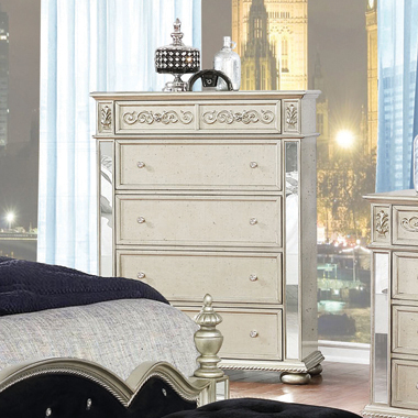 Heidi 5-drawer Chest Metallic Platinum - Hover