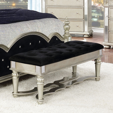 Heidi Upholstered Bench Metallic Platinum - Hover