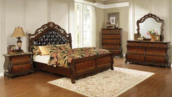 Exeter   Tufted Upholstered Sleigh Bedroom Set Dark Burl