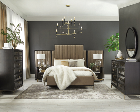 Formosa   Platform Bedroom Set with Oval Nightstand Camel