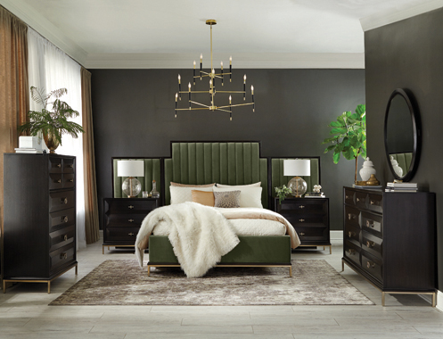Formosa   Platform Bedroom Set with Oval Nightstand Dark Moss