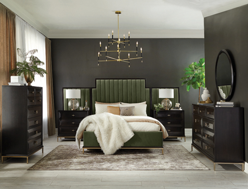 Formosa   Platform Bedroom Set with Oval Nightstand Dark Moss - Hover