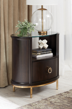Formosa 1-drawer Oval Nightstand Americano and Rose Brass - Hover