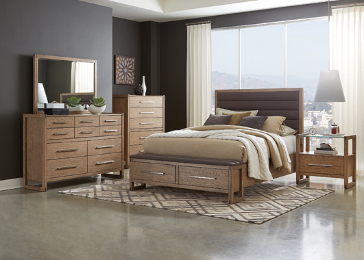 Smithson Queen Platform Bed with Storage Grey Oak - Hover
