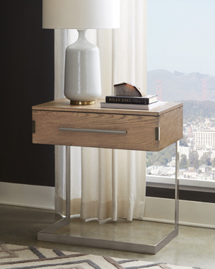 Smithson 1-drawer Nightstand with Metal Base Grey Oak - Hover