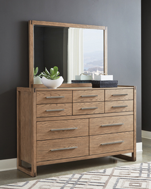 Smithson Rectangular Dresser Mirror Grey Oak - Hover