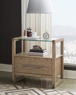 Smithson 1-drawer Nightstand with Glass Top Grey Oak - Hover