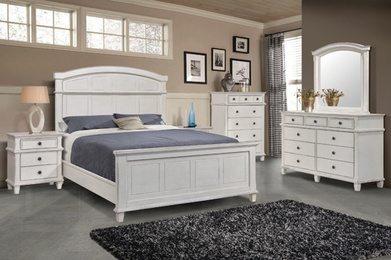 Carolina Eastern King Panel Bed Antique White - Hover