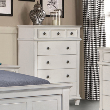 Carolina 5-drawer Chest Antique White - Hover