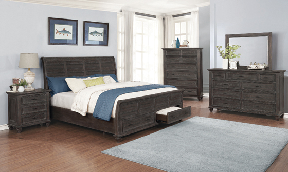 Atascadero Eastern King 2-drawer Storage Bed Weathered Carbon - Hover
