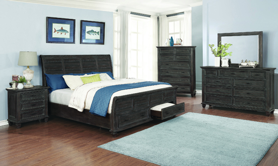 Atascadero Queen 2-drawer Storage Bed Weathered Carbon - Hover