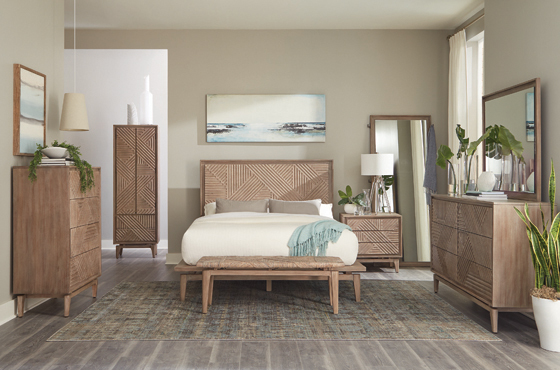 Vanowen Queen Floating-Base Platform Bed Sandstone - Hover