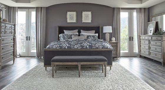 Alderwood Eastern King Upholstered Panel Bed Charcoal Grey - Hover