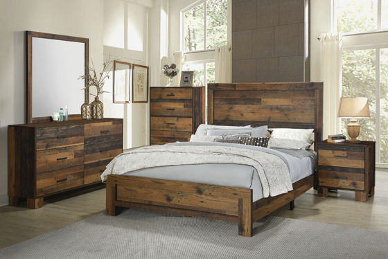 Sidney Twin Panel Bed Rustic Pine - Hover