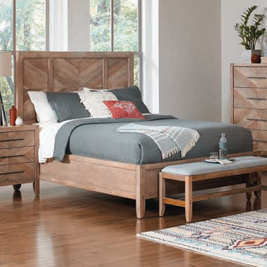 Tawny California King Panel Bed White Washed Natural
