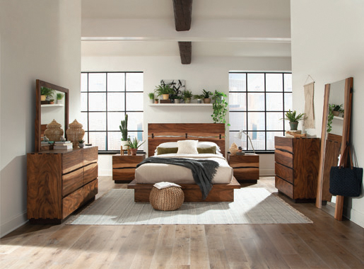 Winslow Queen Bed Smokey Walnut and Coffee Bean - Hover