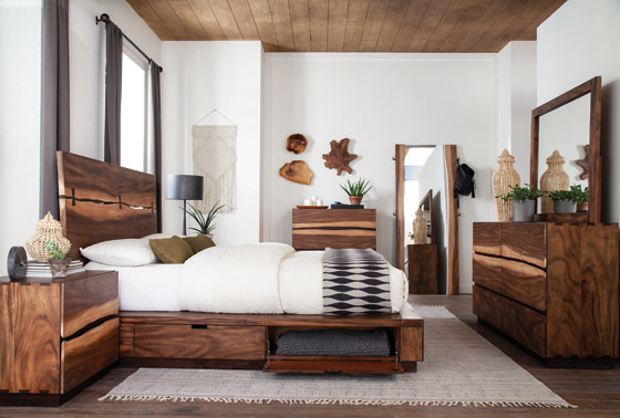 Winslow Storage Eastern King Bed Smokey Walnut and Coffee Bean
