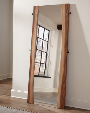 Winslow Standing Mirror Smokey Walnut and Coffee Bean - Hover