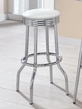 Cleveland Contemporary White Bar-Height Stool - Hover