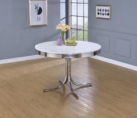 Retro Round Dining Table Glossy White and Chrome - Hover