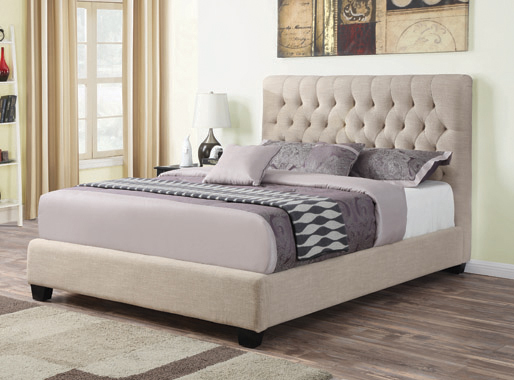 Chloe Tufted Upholstered Queen Bed Oatmeal - Hover