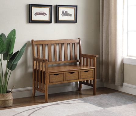 3-drawer Storage Bench Warm Brown - Hover