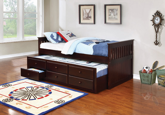 Twin Captain's Daybed with Storage Trundle Cappuccino - Hover