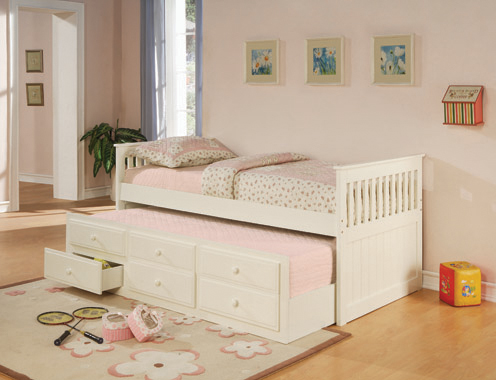 Twin Captain's Bed with Storage Trundle White - Hover