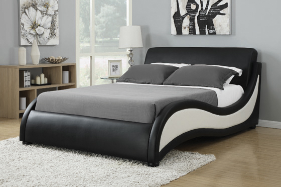 Niguel Queen Upholstered Bed Black and White - Hover