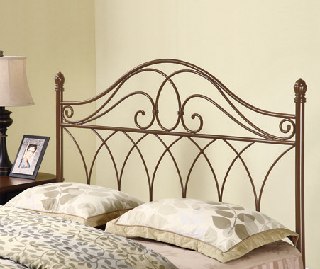 Full/Queen Metal Scroll Headboard Brown