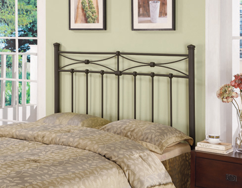 Full/Queen Metal Headboard Rustic Bronze