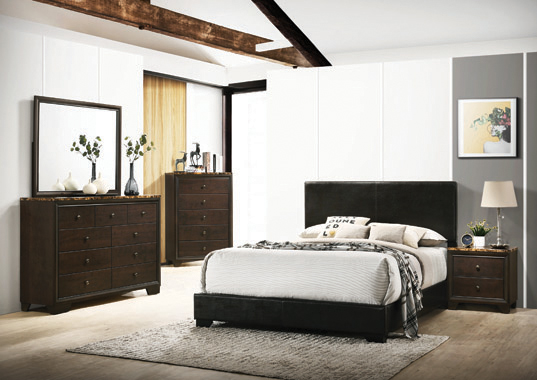 Conner Queen Upholstered Panel Bed Black - Hover