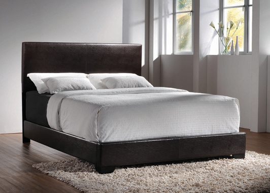 Conner Queen Upholstered Panel Bed Black and Dark Brown - Hover