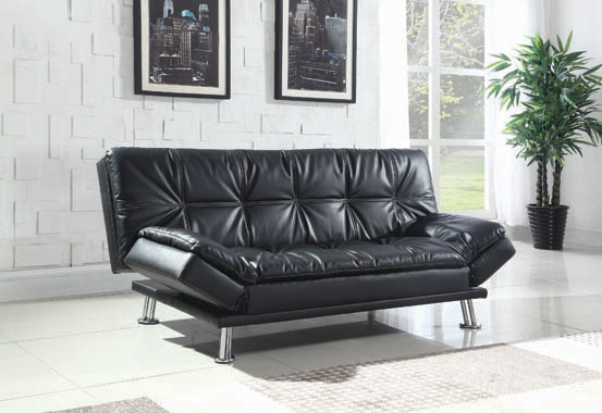 Dilleston Tufted Back Upholstered Sofa Bed Black - Hover