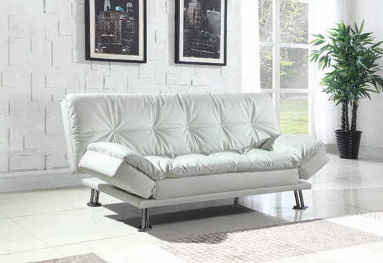 Dilleston Tufted Back Upholstered Sofa Bed White - Hover