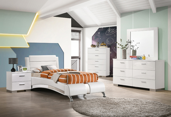 5-piece Twin Platform Bedroom Set Glossy White