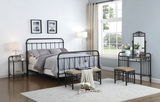 Livingston California King Panel Metal Bed Dark Bronze - Hover