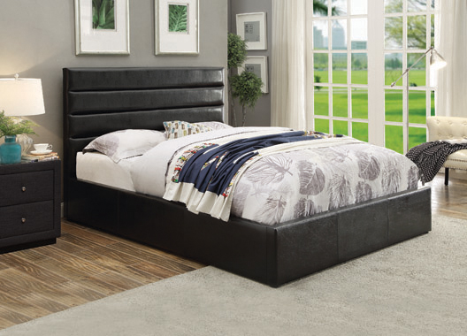 Riverbend Queen Upholstered Storage Bed Black - Hover