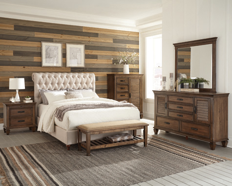 Devon  Upholstered  Bedroom Set Beige and Burnished Oak
