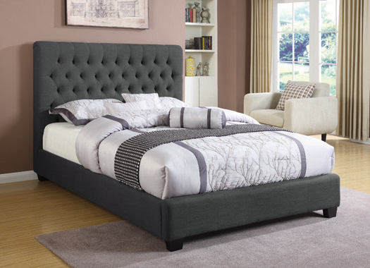 Chloe Tufted Upholstered Eastern King Bed Charcoal - Hover