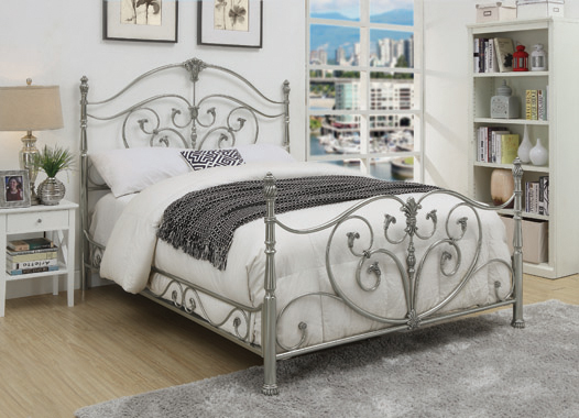 Evita Queen Scrolled Metal Bed Chrome - Hover