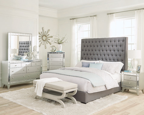 Camille Queen Button Tufted Bed Grey